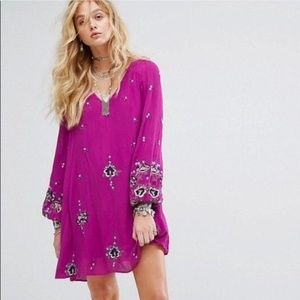 Free People | Boho Embroidered floral Lilac Tunic